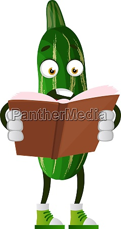 cucumber reading book illustration vector on