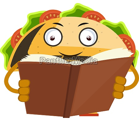 taco reading book illustration vector on