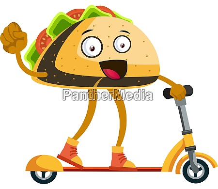 taco on yellow scooter illustration vector