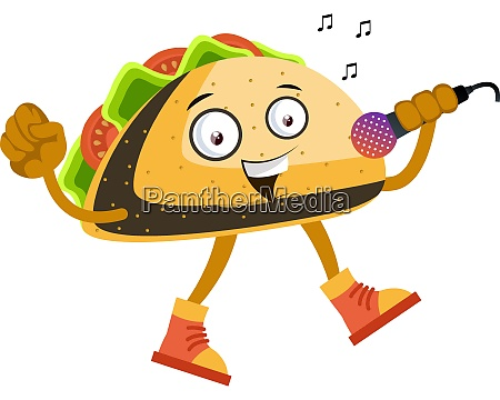 taco singing illustration vector on white