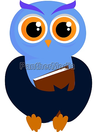 blue owl with book illustration vector