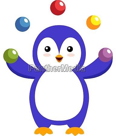 penguin juggling illustration vector on white