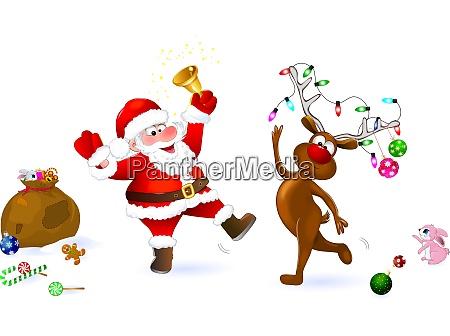 radosc bozego narodzenia santa i jelenie
