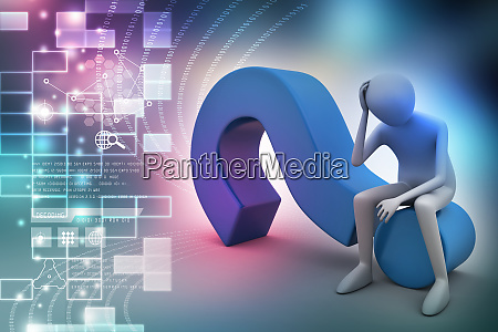 3d man sitting on the question
