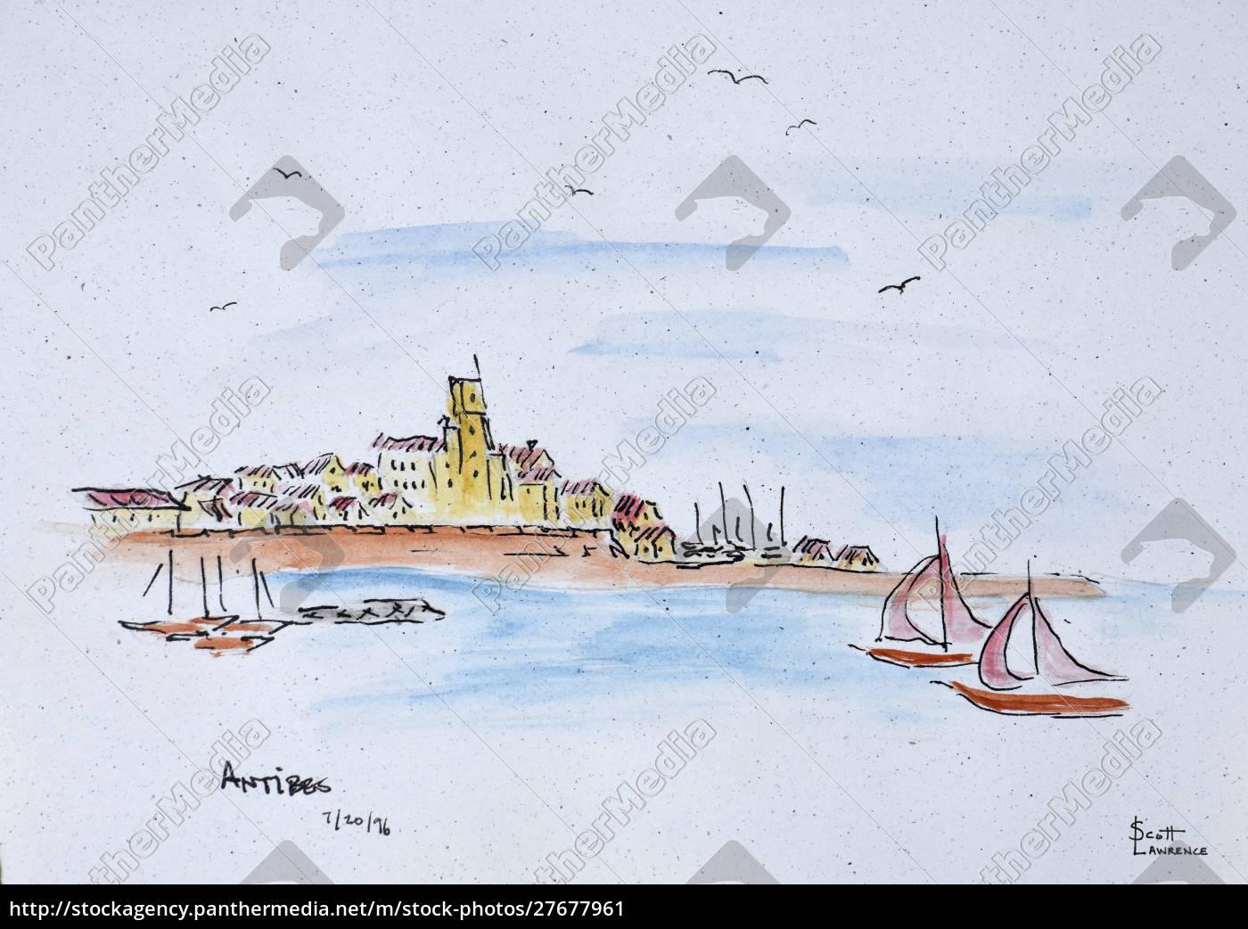 antibes, na, morzu, Śródziemnym, francja - 27677961