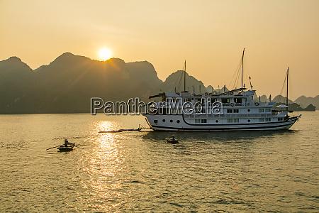 sunset halong bay vietnam asia