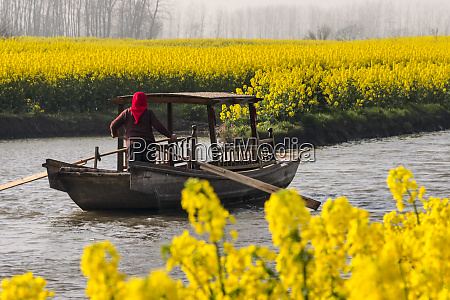 rowing boat on river through thousand