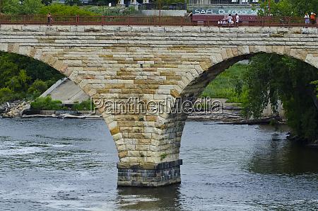 usa minnesota minneapolis stone arch bridge