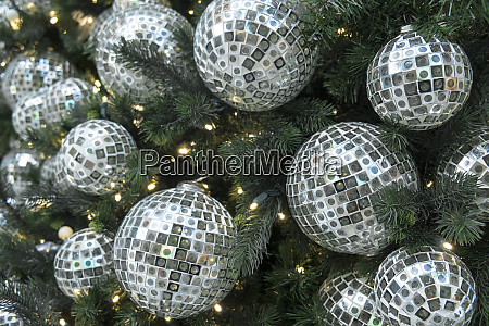 glass balls ornaments decorate a christmas