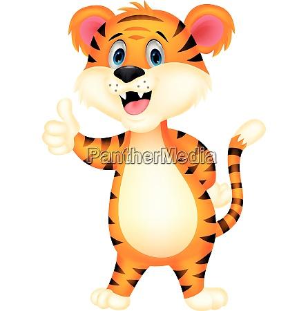 urocza kreskowka tygrysa dajaca kciuk w