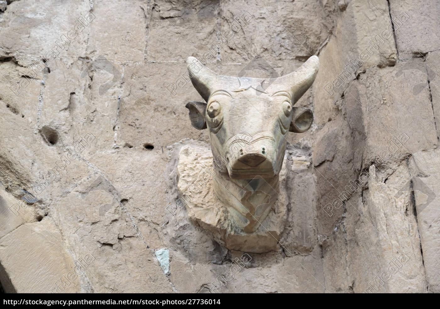 gruzja, mtskheta., głowa, byka, wyrzeźbiona, w, katedrze - 27736014