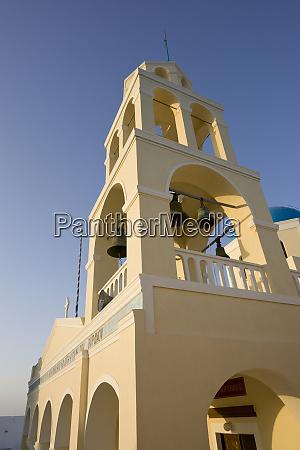 grecja, santorini, thira, oia., Żółta, fasada, i, dzwonnica, greckiego - 27756906