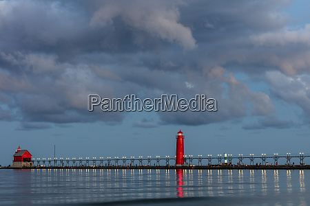 sunrise clouds over lake michigan and
