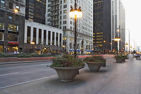 stany zjednoczone illinois chicago zmierzch wzdluz