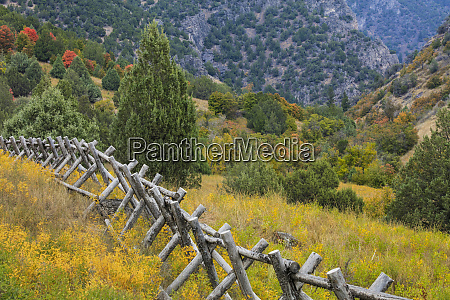 usa utah wasatch mountains fence and