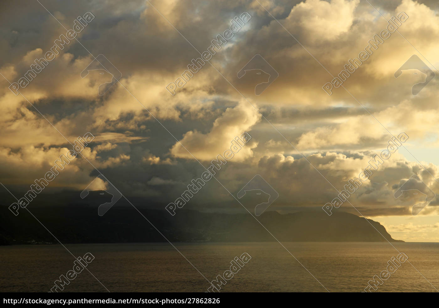 portugalia, azory., wschód, słońca, i, chmury, nad - 27862826