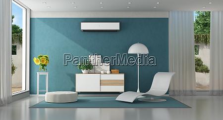 nowoczesny niebieski salon w nowoczesnej willi