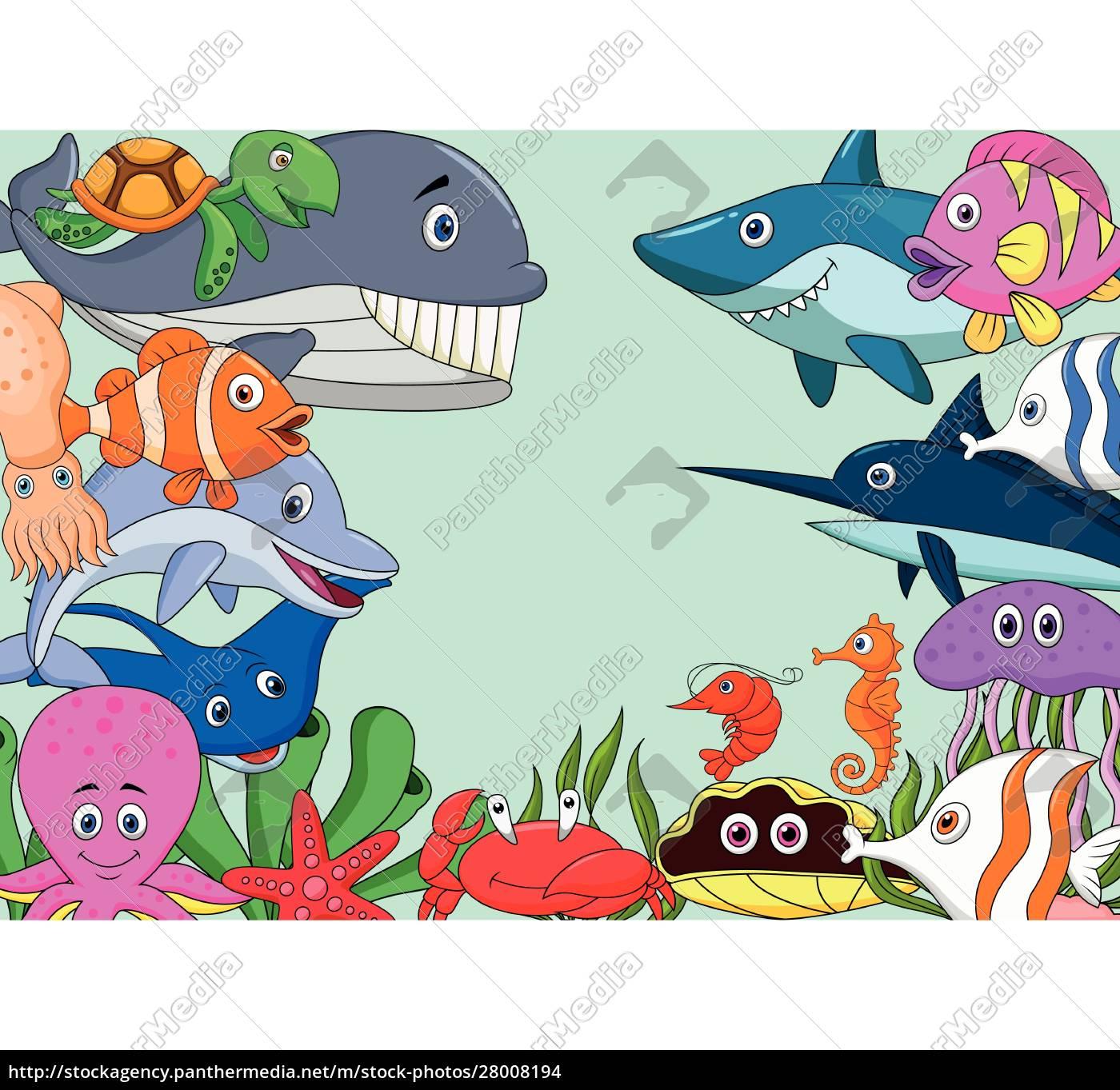 tło, kreskówki, życia, morskiego - 28008194