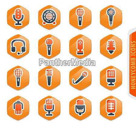 zestaw ikon mikrofonu