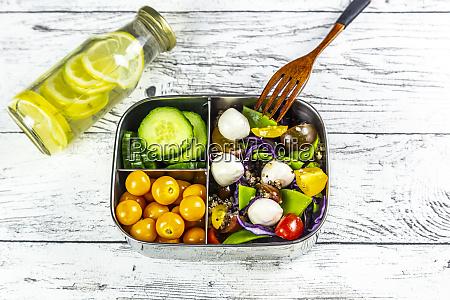 butelka lemoniady i lunchbox z plasterkami