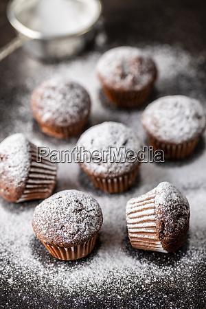 smaczne, babeczki, czekoladowe., słodkie, babeczki. - 28135259