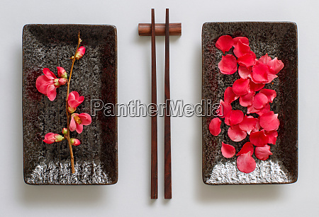 chopsticks rectangular plate and pink flowers