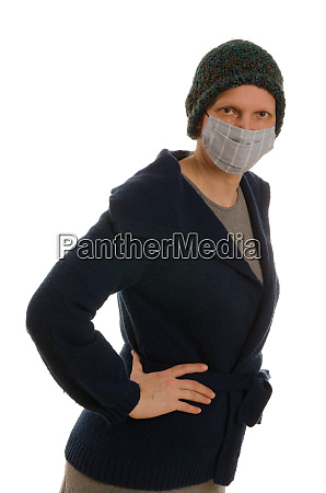 kobieta, z, ochroną, jamy, ustnej, i - 28231694
