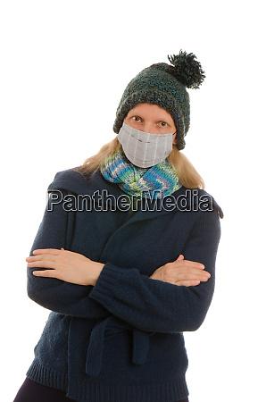 kobieta, z, ochroną, jamy, ustnej, i - 28231855