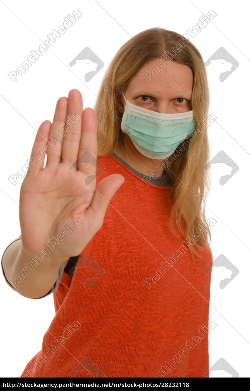 kobieta, z, ochroną, jamy, ustnej, i - 28232118