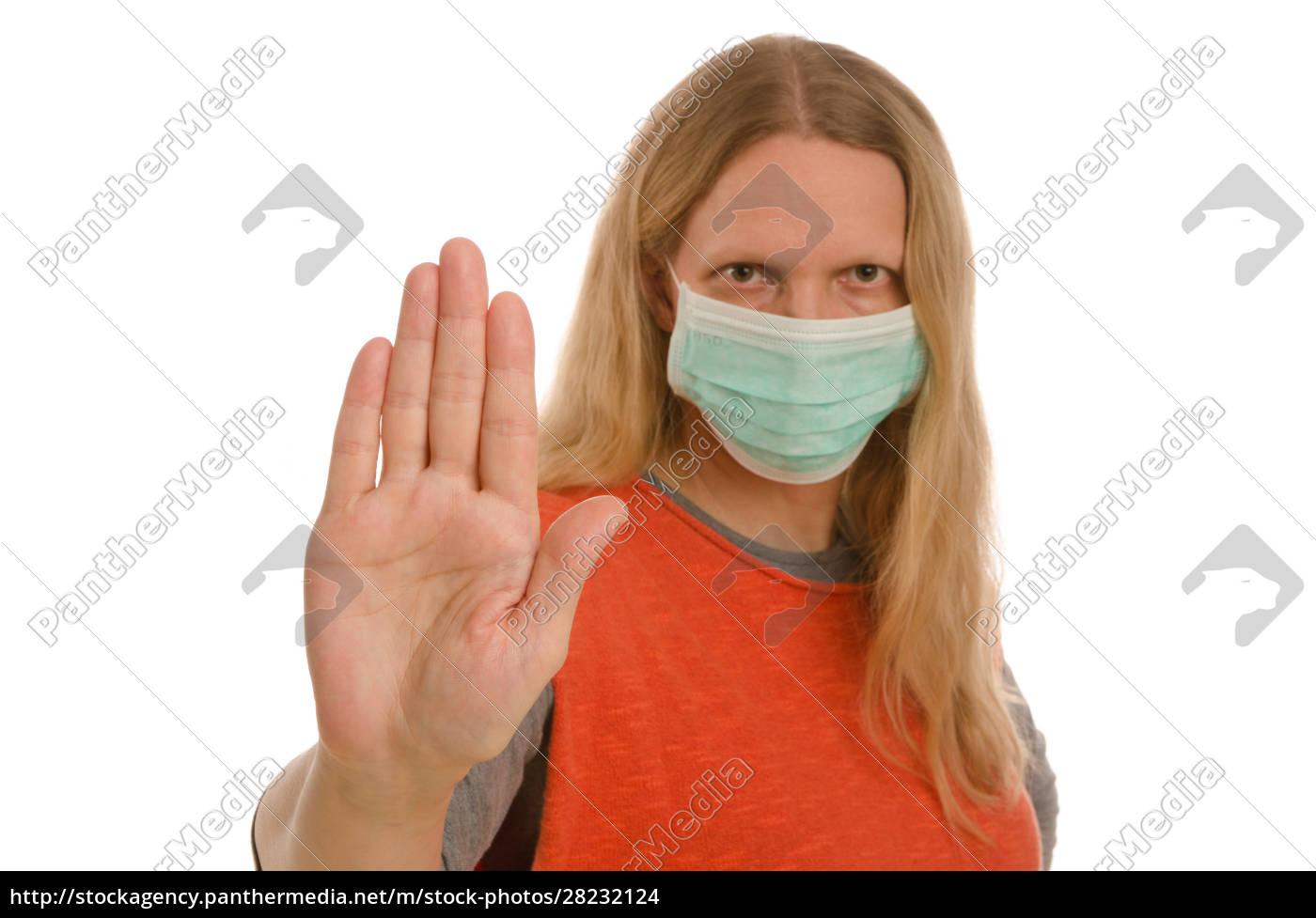 kobieta, z, ochroną, jamy, ustnej, i - 28232124