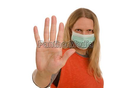 kobieta, z, ochroną, jamy, ustnej, i - 28232129