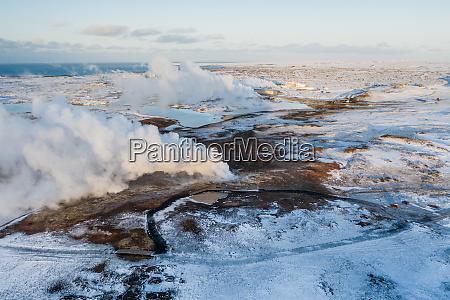 widok z lotu ptaka na geotermalny