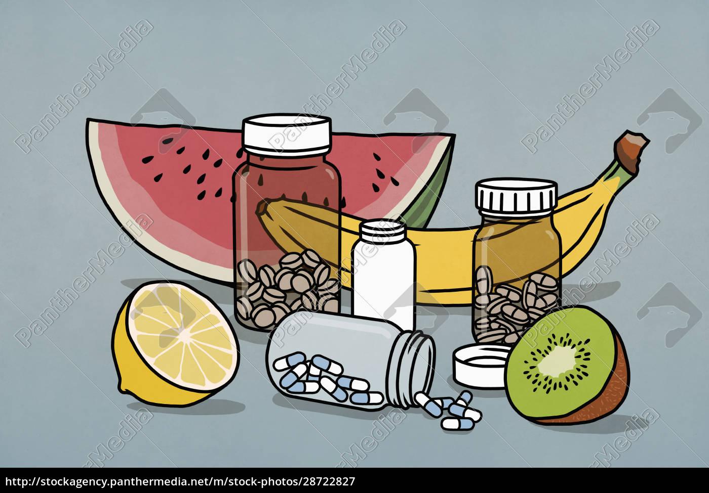 martwa, natura, owoców, i, suplementów, butelek - 28722827