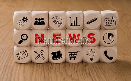 kosci z ikonami i slowem news