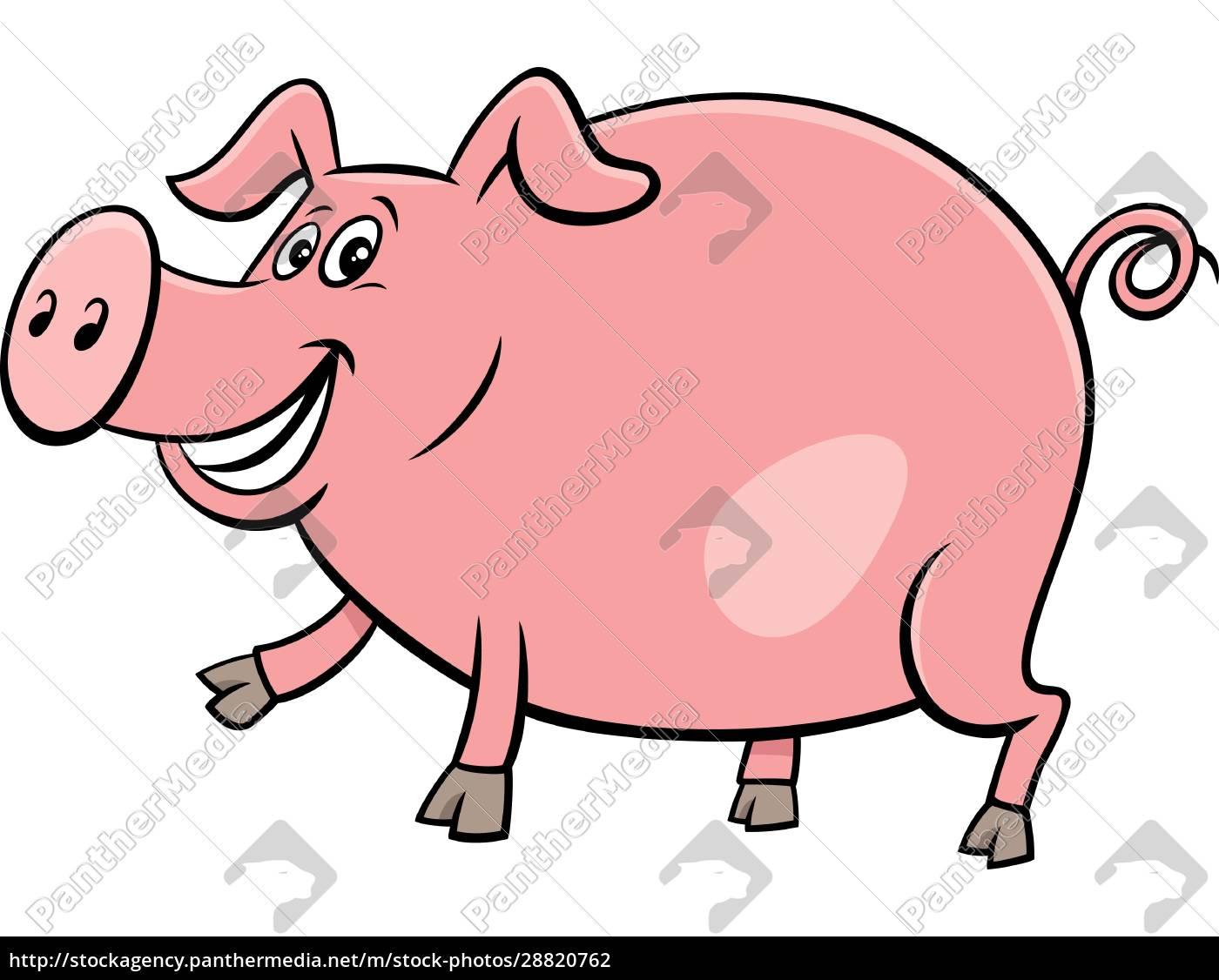 szczęśliwy, świnia, hodowla, zwierzę, charakter, rysunek - 28820762