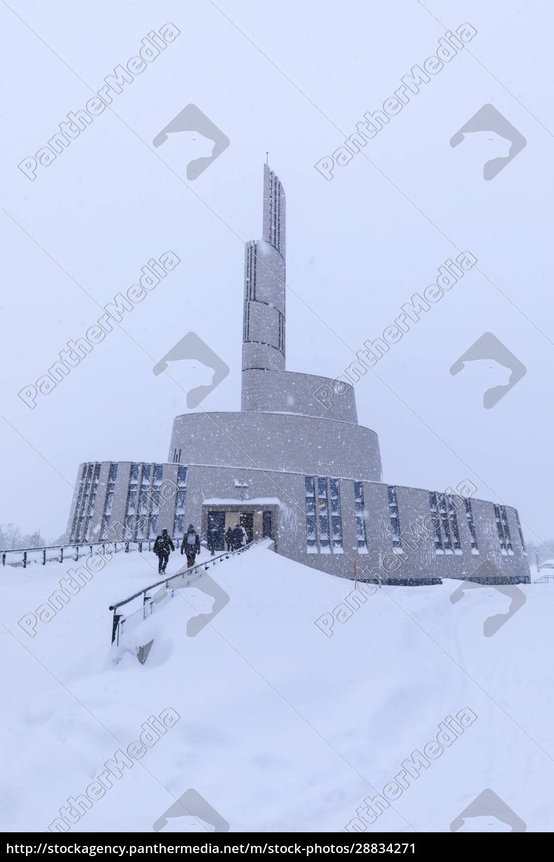 katedra, zorzy, polarnej, uderzająca, architektura, śnieg, w, zimie, alta, altafjord, finnmark, koło - 28834271