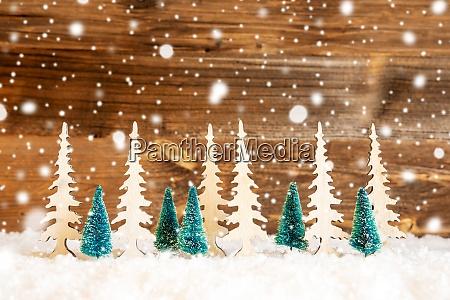 choinka Snieg drewniane tlo kopiuj przestrzen