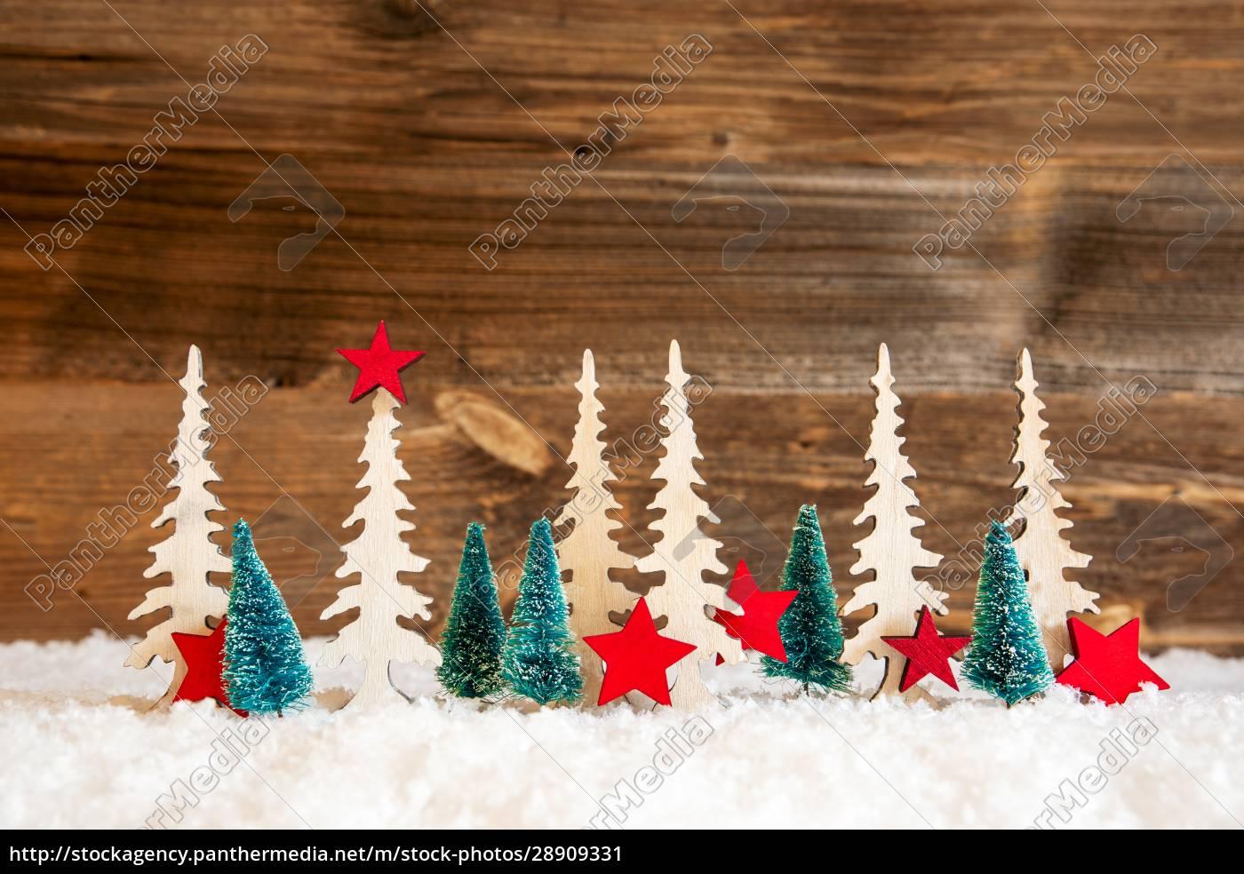 choinka, Śnieg, czerwona, gwiazda, kopiuj, przestrzeń, drewniane, tło - 28909331
