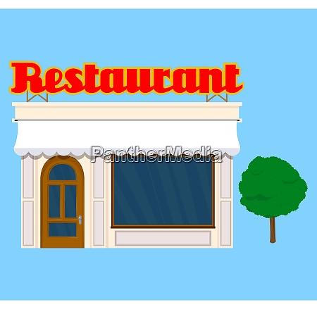 stara, ilustracja, budynku, restauracji, w, stylu - 28931700