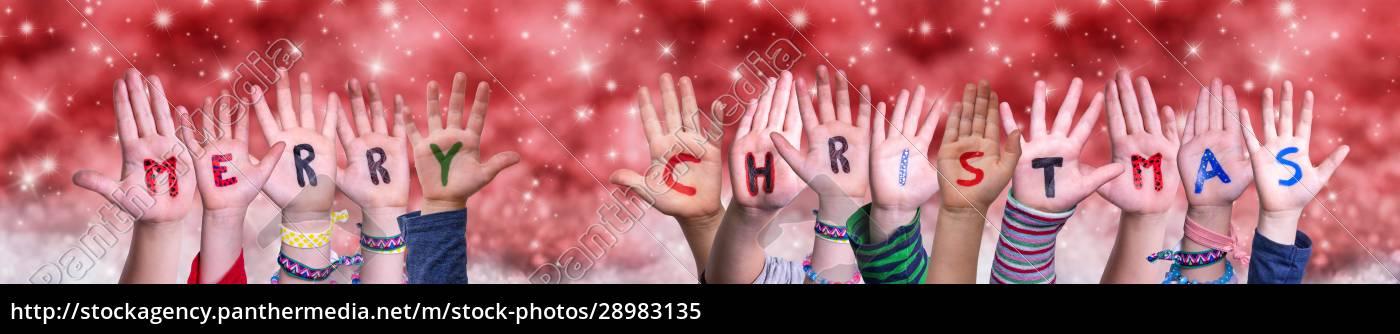 dzieci, ręce, budowanie, word, wesołych, Świąt, red - 28983135