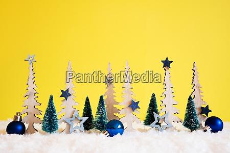 choinka Snieg niebieska gwiazda pilka kopiuj