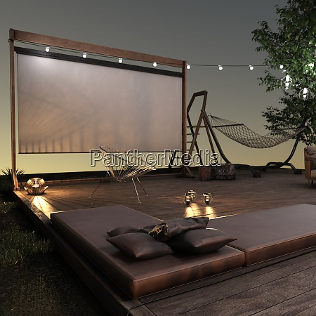 3d, rendering, home, theater, outside - 28995089