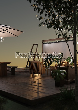 3d, rendering, home, theater, outside - 28995094