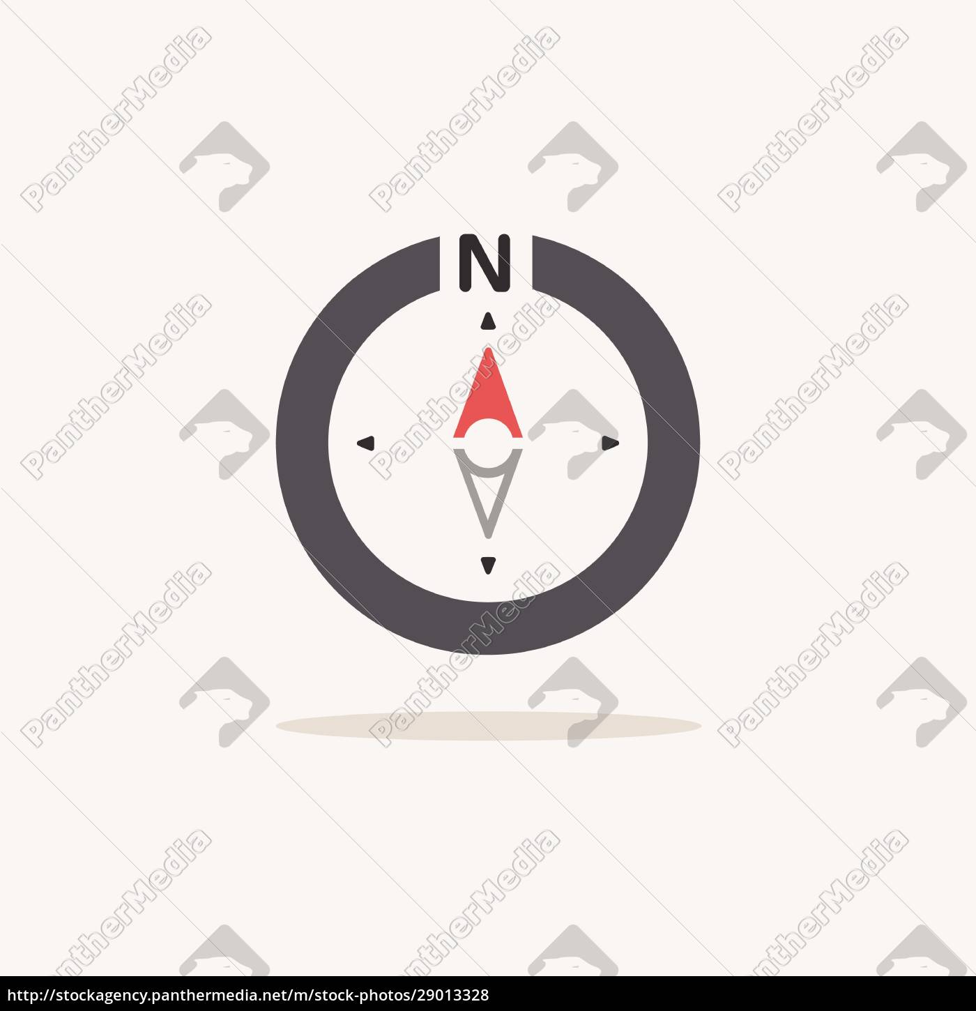 north, direction., compass., color, icon, with - 29013328