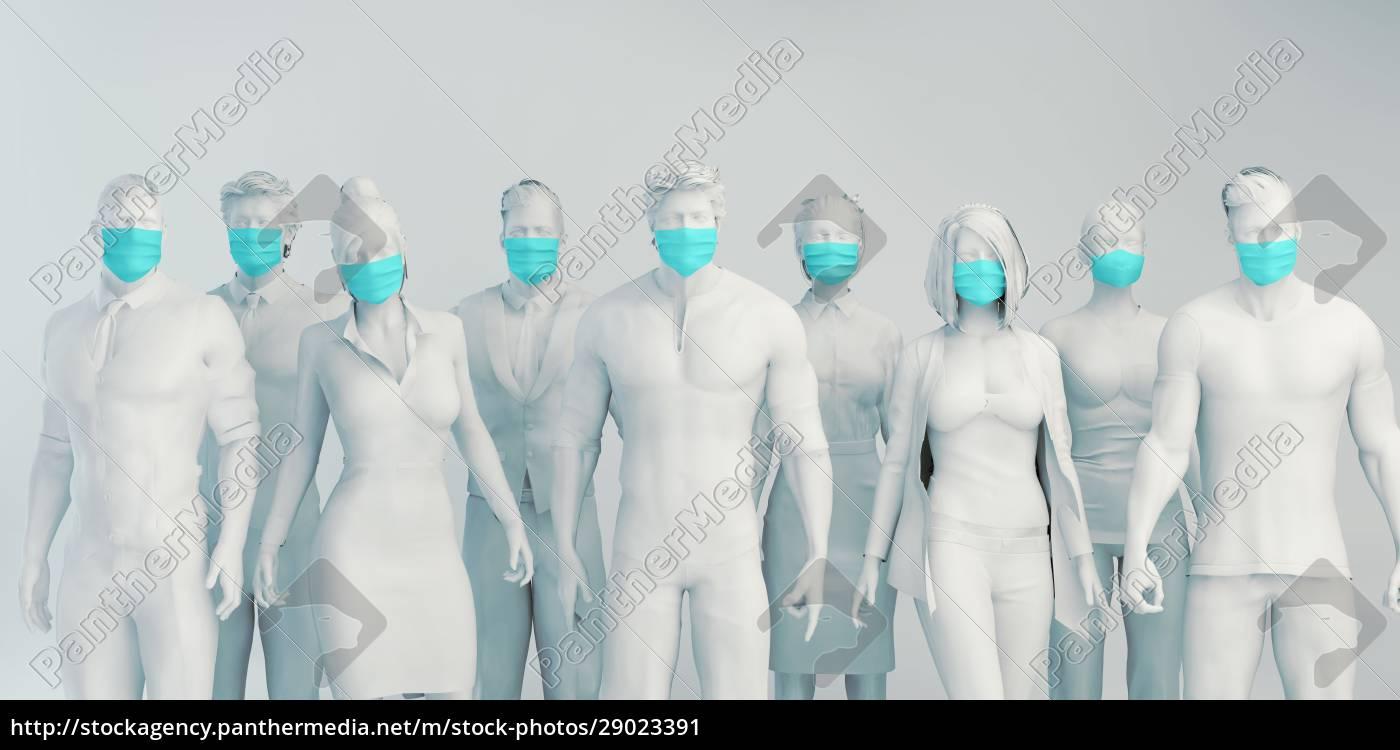 osoby, noszące, maski, na, twarz - 29023391