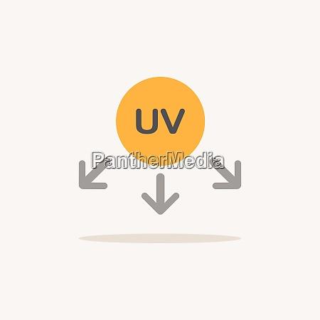 symbol promieni ultrafioletowych ikona koloru z