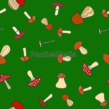 abstrakcyjny doodle grzyb bez szwu wzor