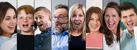 podekscytowani ludzie twarze collage
