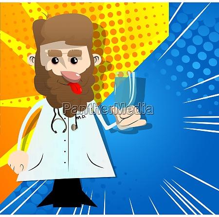 zabawny lekarz z kreskowek trzymajacy szklo