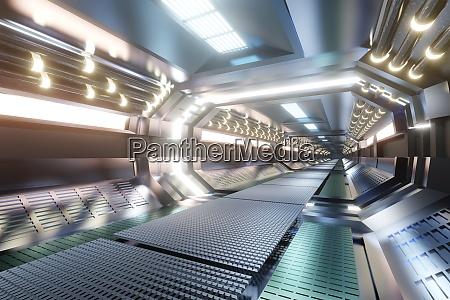 renderowane 3d ilustracja wnetrze statku kosmicznego